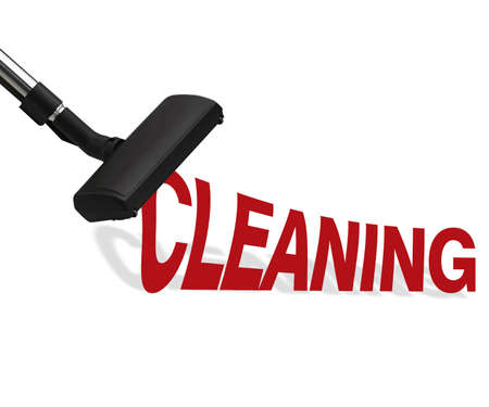 Vacuum cleaner on white background Suction cleaning word. photo