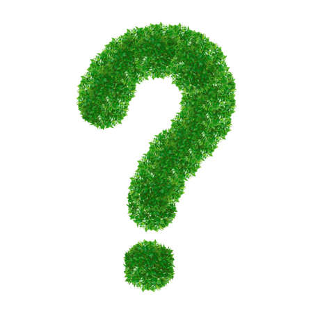 Green Question Mark made from grass isolated on white. Stock Photo - 14613351