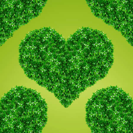 Green Heart Sign made from grass green background. photo