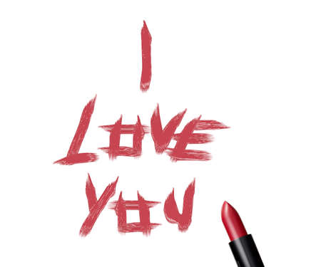 close up of a lipstick and inscription I love you on white background. photo