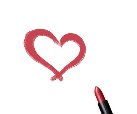 close up of a lipstick  with heart shape on white background. photo