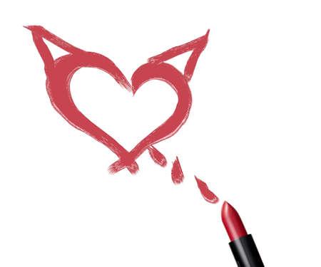 labios sexy: cerca de una barra de labios con forma de corazon y el mal en el fondo blanco. Foto de archivo