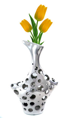 stylish and modern Silver Vase with tulips isolated on white. photo
