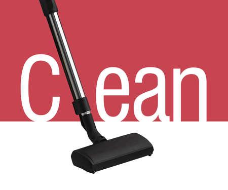 personal de limpieza: Aspiradora en el fondo blanco y el rojo como parte de la palabra limpia Foto de archivo