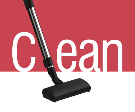 Vacuum cleaner on white and red background as a part of clean word photo