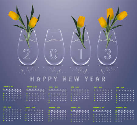New year 2013 Calendar with conceptual image of yellow tulips in glass vases. Stock Photo - 15551267