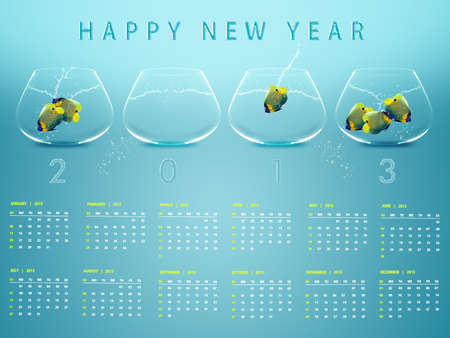 New year 2013 Calendar with conceptual image of angelfish in fishbowl. Stock Photo - 15551213