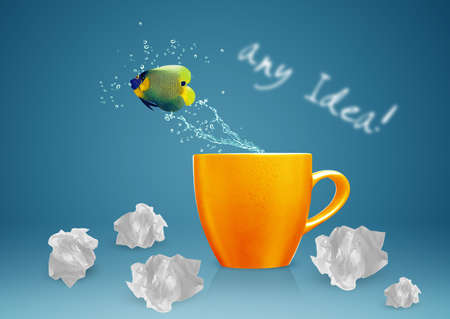 masterly: Angelfish jumping out of cup with water splashes and Acrobatic movement.