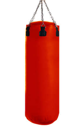 Red Punching bag for boxing or kick boxing sport, isolated on white background.