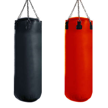 Punching bag for boxing or kick boxing sport, isolated on white background. Stock Photo