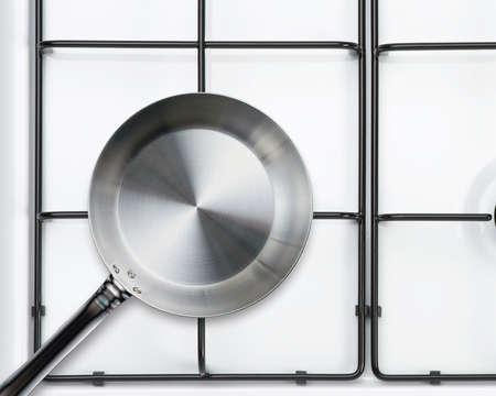 gas stove: Empty steel frying pan on stove