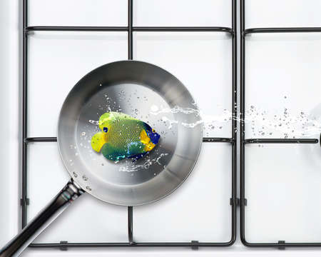 Frying pan and fresh angel fish with water splashes. Stock Photo - 15551271