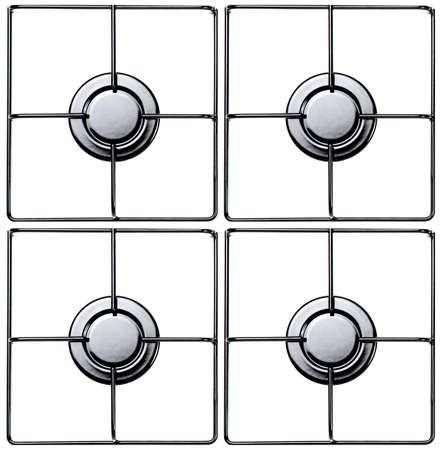 stove: Stainless steel gas hob or stove. Stock Photo