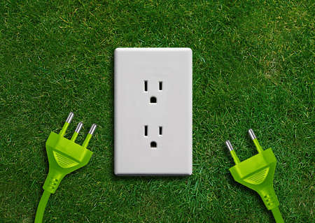 electric plug: Green energy concept, Green power plug in electric outlet on a green grassland.