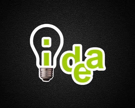 Idea word with lightbulb.