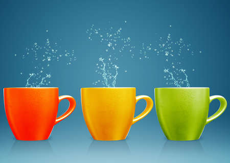 colorful mug with water splashes. Stock Photo - 15551281