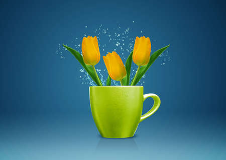 tulips in vase: Modern vase style, A group of yellow Tulips in green vase.