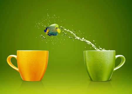 Angelfish jumping out of cup with water splashes and Acrobatic movement. Stock Photo - 15551275