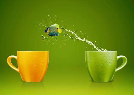Angelfish sautant de la tasse avec les projections d'eau et le mouvement acrobatique.