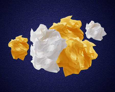 Crumpled colorful papers creating speech bubble.