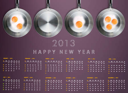New year 2013 Calendar with conceptual image of Fried eggs in a frying pans creating 2013 year number. Stock Photo - 15787406