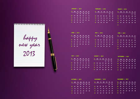 New year 2013 Calendar with conceptual image of new year greeting. photo