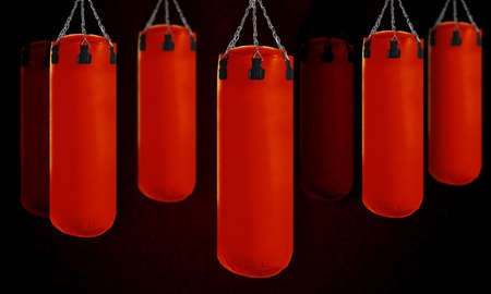 Red Punching bag for boxing or kick boxing sport. photo