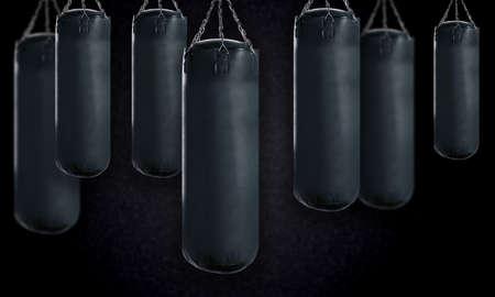 coup de pied: sac de boxe noir pour la boxe ou le kick boxing sport. Banque d'images