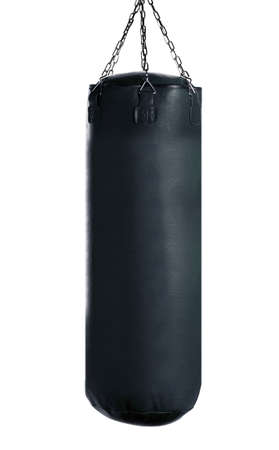 body bag: black Punching bag for boxing or kick boxing sport, isolated on white background. Stock Photo
