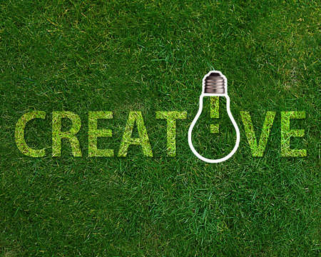Creative word with lightbulb on grassland. Stockfoto