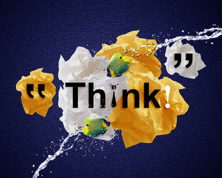 Crumpled colorful papers creating speech bubble with angel fish and water splashes.