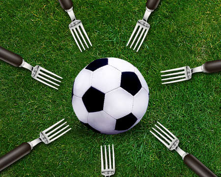 Football sport, soccer ball on grassland and fork around. photo