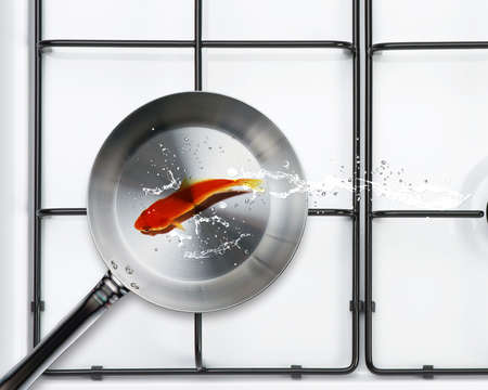 Frying pan and fresh gold fish with water splashes. photo
