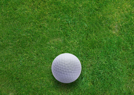 Golf ball on green grass land .  photo