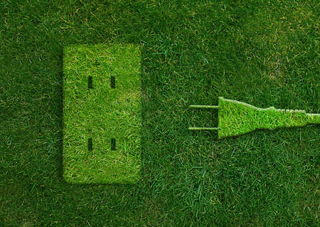 Green energy concept, Green power plug in electric outlet on a green grassland.