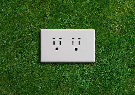 plug electric: electricity  adapter on a green grassland, Green energy concept, Green power. Stock Photo