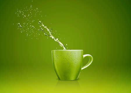 Green  mug with water splashes. Stock Photo - 15787239
