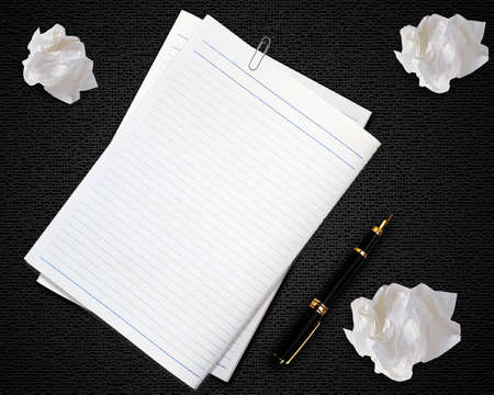 imaginary dialogue: Blank white paper with pen and crumpled paper. Stock Photo