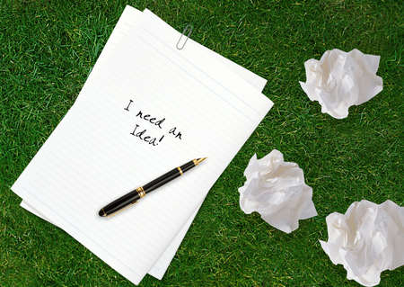 masterly: Blank white paper with pen and crumpled paper. Stock Photo
