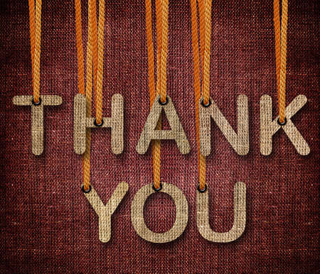 blue you: Thank you word hunging by rope as puppeteer on sackcloth background.