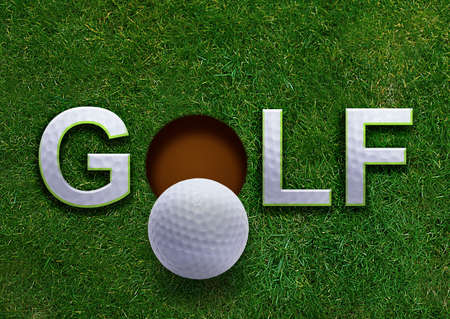 Golf word on green grass and golf ball on lip of hole photo