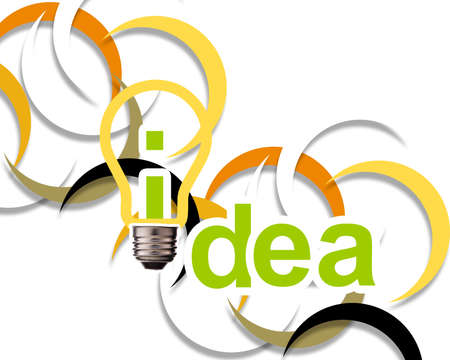 imaginary dialogue: Idea word with lightbulb.