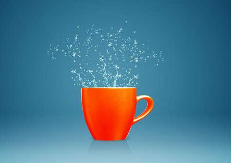 masterly: colorful mug with water splashes. Stock Photo