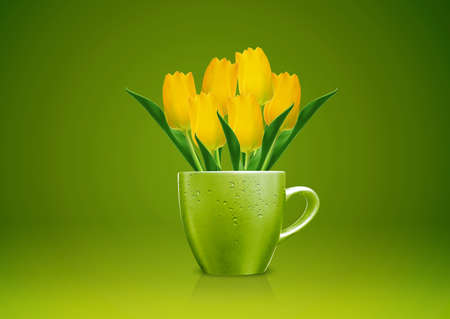 Modern vase style, A group of yellow Tulips in green vase. photo