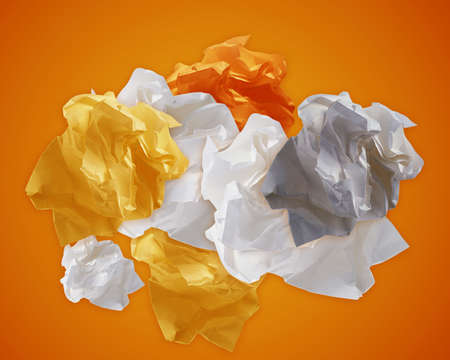 Crumpled colorful papers creating speech bubble. Stock Photo - 16822933
