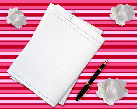 Blank white paper with pen and crumpled paper. Stock Photo