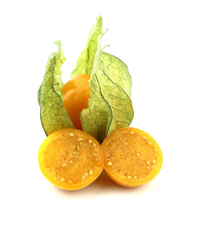 Cape gooseberry, physalis isolated on white background.
