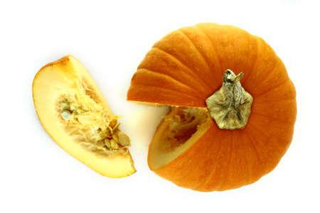 piece of ripe pumpkin on a white background  photo