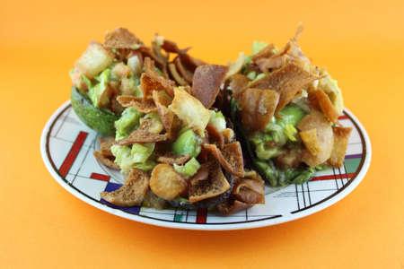Healthy Avocado Salad stuffed with Crispy bread, tomato and salsa Stock Photo - 18700873