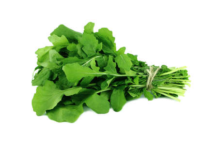 roquette: Green Rocket or Roquette leaves isolated on white background  Stock Photo